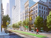 Woman jogging alone in the streets of city on a green lawn arrow. 3d rendering Royalty Free Stock Photos