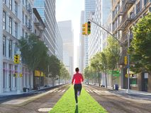 Young woman jogging alone in the streets of city on a green strip. 3d rendering Royalty Free Stock Photography