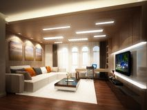 3d rendering żywy pokój Obraz Royalty Free