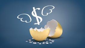3d rendering złoty eggshell łamający w połówce z oskrzydlonym dolarowego znaka lataniem z go na błękitnym tle ilustracji