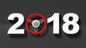 3D rendering 2018 z samochodową ` s kierownicą jako zero Obrazy Stock