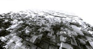 3D renderingu światła magazynu cyber miasto slamsy, astronautyczny stati Obraz Stock
