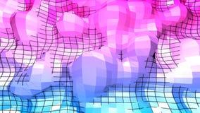 3d renderingu abstrakcjonistyczny geometryczny tło z nowożytnym gradientem barwi w niskim poli- stylu 3d powierzchnia z błękitną  Ilustracji