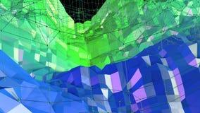 3d renderingu abstrakcjonistyczny geometryczny tło z nowożytnym gradientem barwi w niskim poli- stylu 3d powierzchnia z zielonym  Royalty Ilustracja