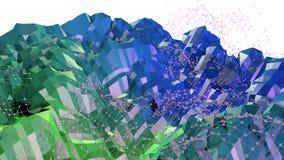 3d renderingu abstrakcjonistyczny geometryczny tło z nowożytnym gradientem barwi w niskim poli- stylu 3d powierzchnia z zielonym  Ilustracji