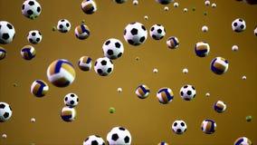 3D renderingu animaci sporta piłki spada od nieba tła ilustracji
