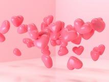 3d renderingu balonu kształta kierowej glansowanej różowej lewitacji miłości niespodzianki valentine prezenta izbowy pojęcie ilustracji