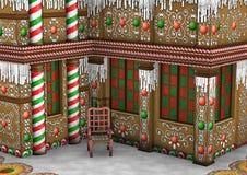 3D renderingu Bożenarodzeniowy Piernikowy dom Zdjęcie Royalty Free