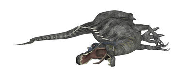 3D renderingu dinosaur Suchomimus na bielu Fotografia Royalty Free
