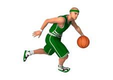 3D renderingu gracz koszykówki na bielu Fotografia Stock