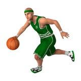 3D renderingu gracz koszykówki na bielu Obraz Stock