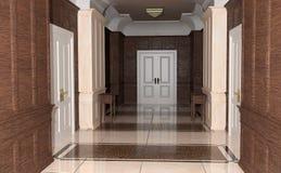 3D renderingu korytarza hotel Fotografia Stock