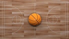 3d renderingu koszykówka na drewnianym tle ilustracji