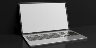 3d renderingu laptop na czarnym tle Obraz Stock