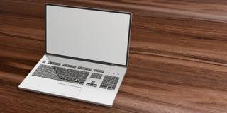 3d renderingu laptop na drewnianym tle Zdjęcia Royalty Free