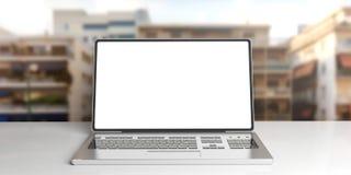 3d renderingu laptop na miastowym zamazanym tle Zdjęcia Royalty Free