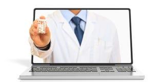 3d renderingu mężczyzna ofiary pigułki przez laptopu ekranu ilustracja wektor