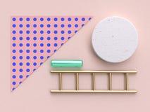 3d renderingu menchii błękita wzoru zielonego szkła jasnego złocistego abstrakcjonistycznego geometrycznego mieszkania nieatutowy ilustracja wektor