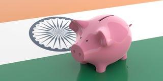 3d renderingu menchii prosiątka bank na India flaga Obrazy Royalty Free