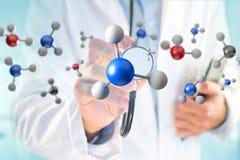 3d renderingu molekuła na wystawiam na medycznym interfejsie Obraz Royalty Free