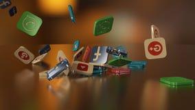 3d renderingu networking ogólnospołeczne ikony Obrazy Stock