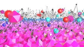 3d renderingu niski poli- abstrakcjonistyczny geometryczny tło z nowożytnymi gradientowymi kolorami 3d powierzchnia z czerwonym b Ilustracji