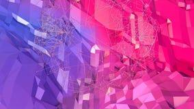 3d renderingu niski poli- abstrakcjonistyczny geometryczny tło z nowożytnymi gradientowymi kolorami 3d powierzchnia jako kreskówk Obrazy Royalty Free