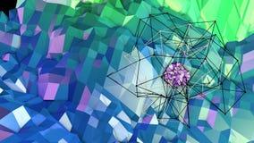 3d renderingu niski poli- abstrakcjonistyczny geometryczny tło z nowożytnymi gradientowymi kolorami 3d powierzchnia jako kreskówk Ilustracja Wektor