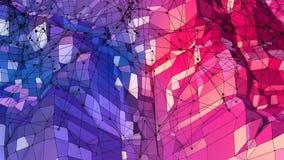 3d renderingu niski poli- abstrakcjonistyczny geometryczny tło z nowożytnymi gradientowymi kolorami 3d powierzchnia jako kreskówk Zdjęcia Royalty Free
