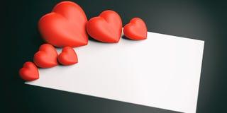 3d renderingu serca na biel przestrzeni i blackboard Zdjęcie Royalty Free