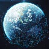 3D renderingu sieć i dane wymiana nad planety ziemią w przestrzeni Związek wykłada Wokoło Ziemskiej kuli ziemskiej globalny Fotografia Stock