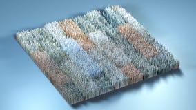 3d renderingu terenoznawstwo z sześcianami ilustracja wektor