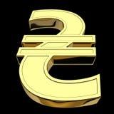3D renderingu waluty symbol Ukraiński hryvnia odosobniony na czarnym tle, złoty, ilustracji