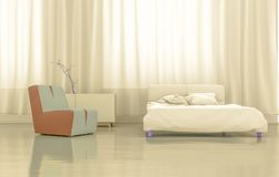 3D renderingu złota sypialnia ilustracji