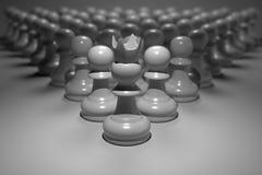3D renderingu zakończenie w górę ptasich oczu widoku zastawniczy szachy z puszka światłem na liderze przed one w ciemnej tło tape Obrazy Stock