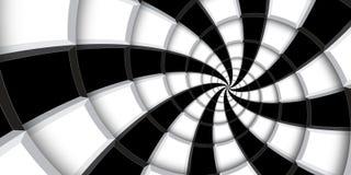 3d renderingu zawijasa ilustracyjny tło Czarny i biały kwadraty i linie zniekształcający w abstrakt spirali wzór Kręcony roun obraz royalty free