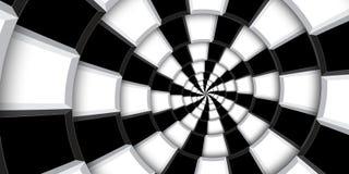 3d renderingu zawijasa ilustracyjny tło Czarny i biały kwadraty i linie zniekształcający w abstrakt spirali wzór Kręcony roun fotografia stock