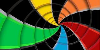 3d renderingu zawijasa ilustracyjny tło Tęcza barwi i czarni kwadraty i linie zniekształcający w abstrakt spirali wzór Twi zdjęcia stock