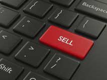 3d renderof computer keyboard with sell button. 3d render closeup of computer keyboard with sell button Royalty Free Stock Image