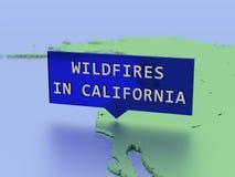 3D rendeu a etiqueta do mapa, incêndios violentos em Califórnia imagem de stock royalty free