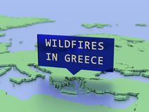 3D rendeu a etiqueta do mapa, incêndios violentos em greece Foto de Stock Royalty Free