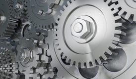 3D rendeu a ilustração das engrenagens e de rodas denteadas metálicas Foto de Stock Royalty Free
