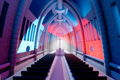 3D rendeu a ilustração de um interior da catedral fotos de stock royalty free