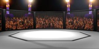 3D rendeu a ilustração de um Muttahida Majlis-E-Amal, artes marciais misturadas, lutando a gaiola imagem de stock