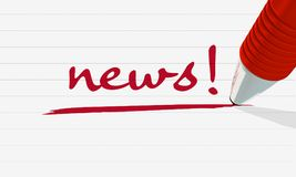 3d rendeu a imagem que mostra uma pena que escreve o ` da notícia do ` da palavra no vermelho em uma folha de papel Fotografia de Stock