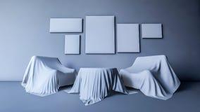 3d rendeu a mesa redonda e o sofá que cobriram pela tela Imagens de Stock Royalty Free