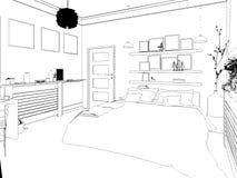 3D rendeu o design de interiores mínimo branco do quarto Imagem de Stock Royalty Free