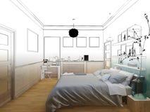 3D rendeu o design de interiores mínimo branco do quarto Imagens de Stock Royalty Free