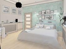 3D rendeu o design de interiores mínimo branco do quarto Foto de Stock Royalty Free
