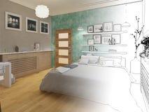 3D rendeu o design de interiores mínimo branco do quarto Fotografia de Stock Royalty Free